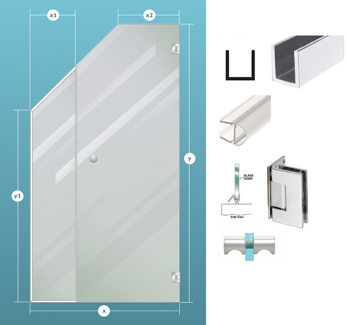 2-Piece Glass Shower Enclosure Ceiling Cut