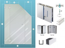 3-Piece Glass Shower Enclosure Ceiling Cut