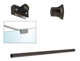 Matt Black Top Bar Support 6mm-8mm Glass