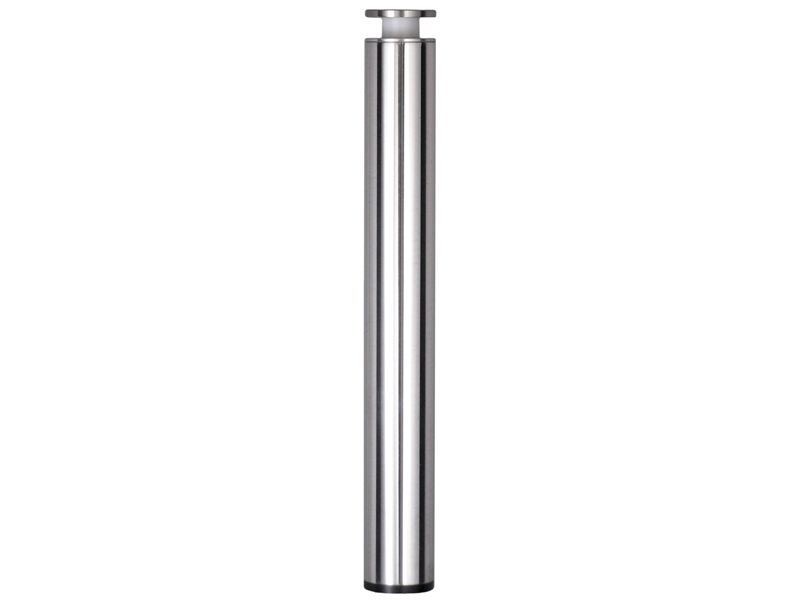 Coffee Table Leg - 38mm Diameter - 300mm High - Bright Polished Aluminium - Flush Black Base - Supplied with Through Glass Fixing.